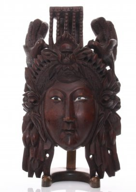 Early 20th Century Chinese Empress Rosewood Carved Mask