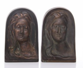 """Two(2) Art Nouveau Bronze Bookends Signed """"gormley"""". S"""