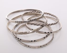 Five(5) Sterling Silver Bangles. Four Made By Frantz H