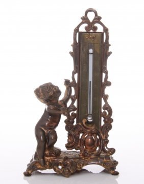 19th Century, Bronze Thermometer. Size: See Attached