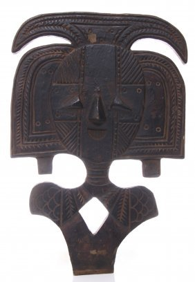 Antique African Ceremonial Shield Carved From Wood. Si