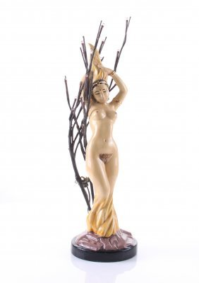 India Nude Princess Lamp With Lighted Tree Tips. Size: