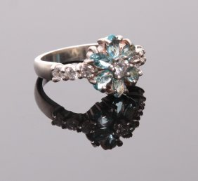 Vintage Sterling Silver Ring With Aquamarine Stones. R