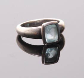 Vintage Sterling Silver Ring With Cushion Cut Aquamarin