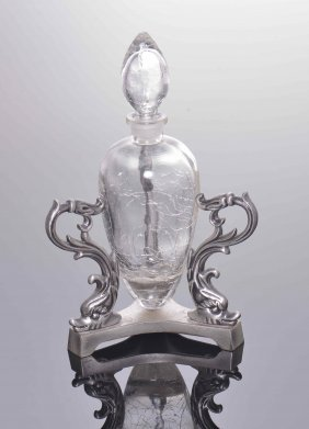Perfume Bottle With Crackle Style Mounted On Ornate Met