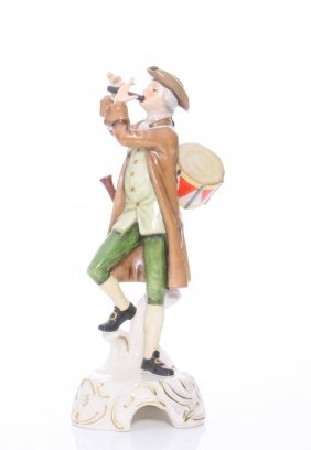 Porcelain Figurine Of A Drummer Boy Playing The Flute,