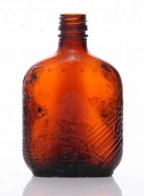 """Mid Century Brown Glass Whiskey Bottle. The """"federal L"""