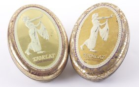 Two (2) Vintage Tjoklat Camee Pastilles Embossed Tin Bo