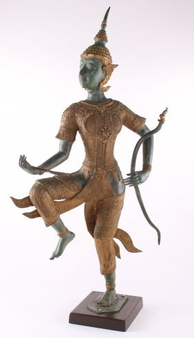 Thai/balinese Mythical Archer Parcel Gilt Accents To Cl