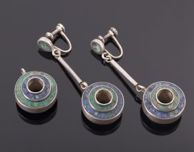 Mexican Sterling Silver Crushed Turquoise And Lapis Laz