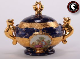 L.f. Fine Porcelain Limoges L.r. G. Cobalt Blue And Gol