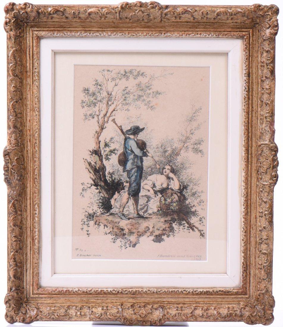 Francesco Bartolozzi Colored Etching Dated 1793