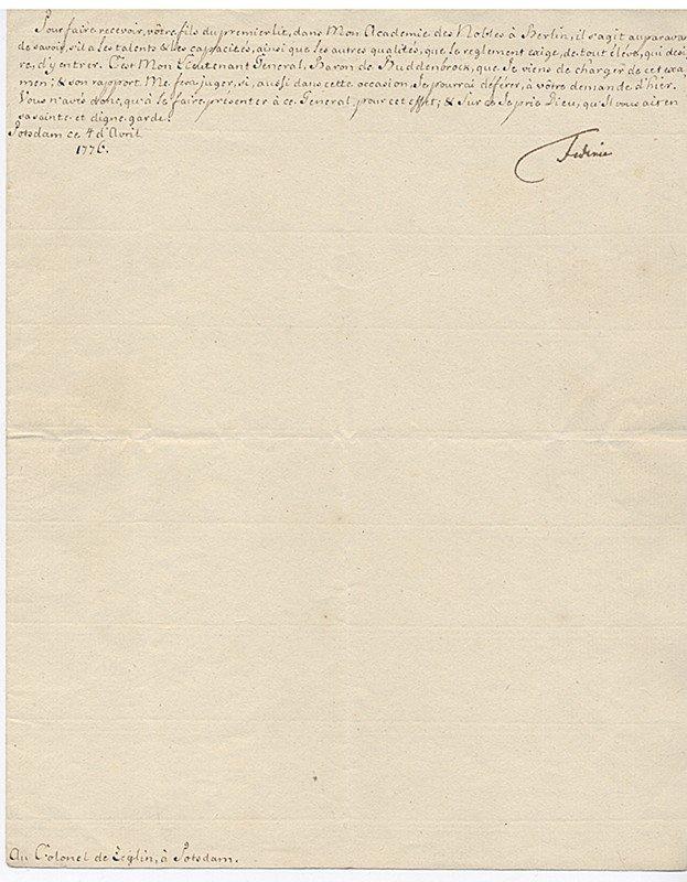 Autograph von Friedrich II. d. Gr. (1712-1786)