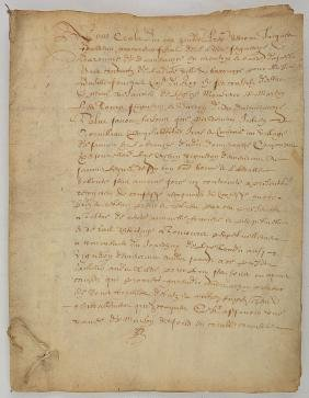 RARE PARCHMENT DOCUMENT in ''OLD FRENCH'' dated 1639.