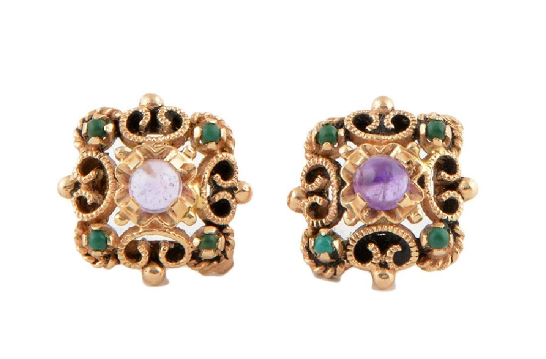 14K GOLD AND COLOURED STONES