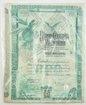 RARE STOCK CERTIFICATE of ONE SHARE of Banco Central M