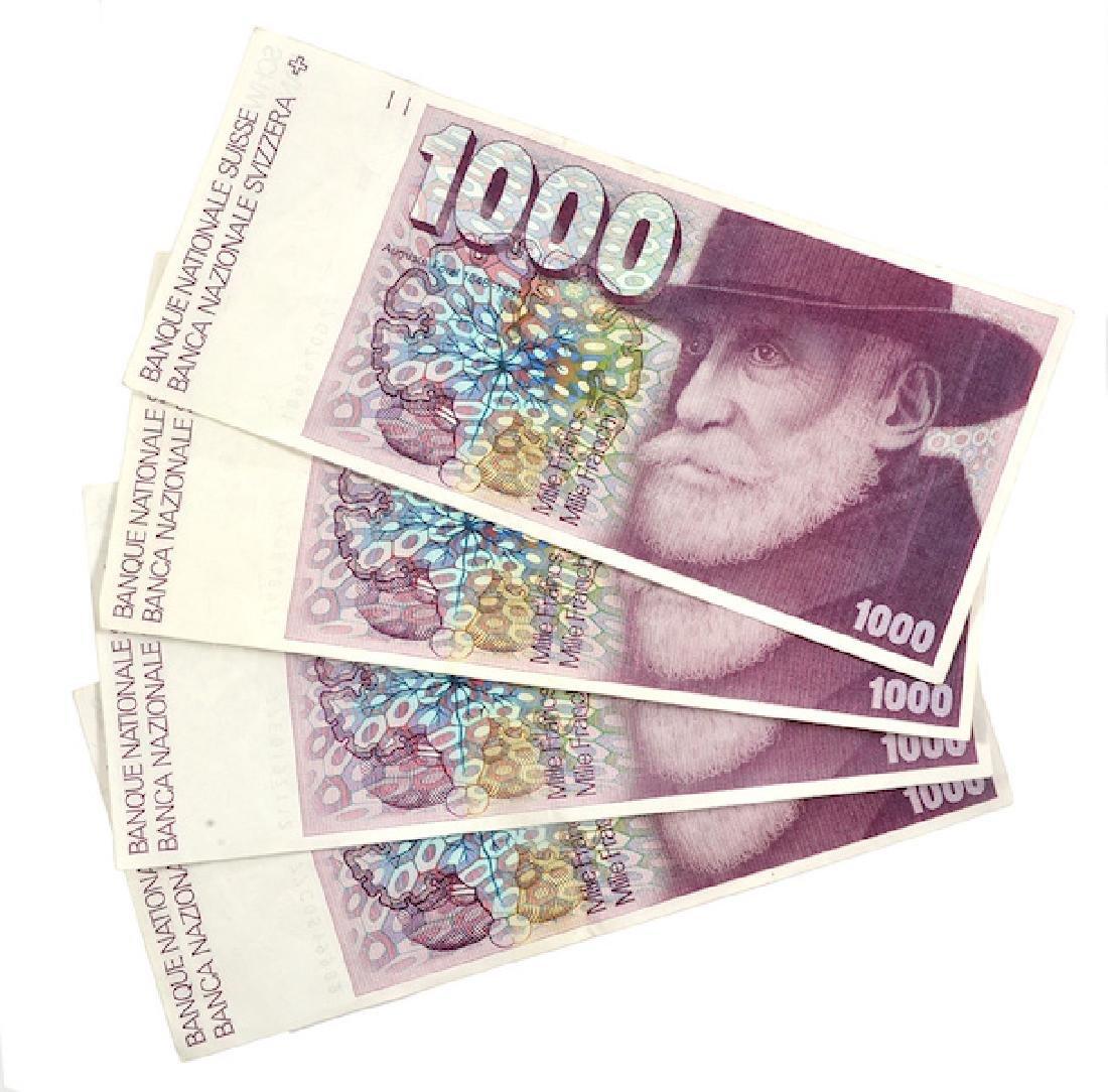 Swiss banknotes - 4 banknotes
