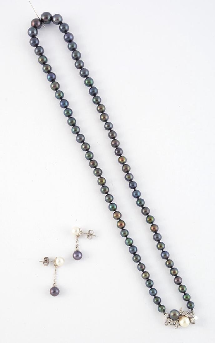 14K GOLD, HEMATITES AND PEARLS