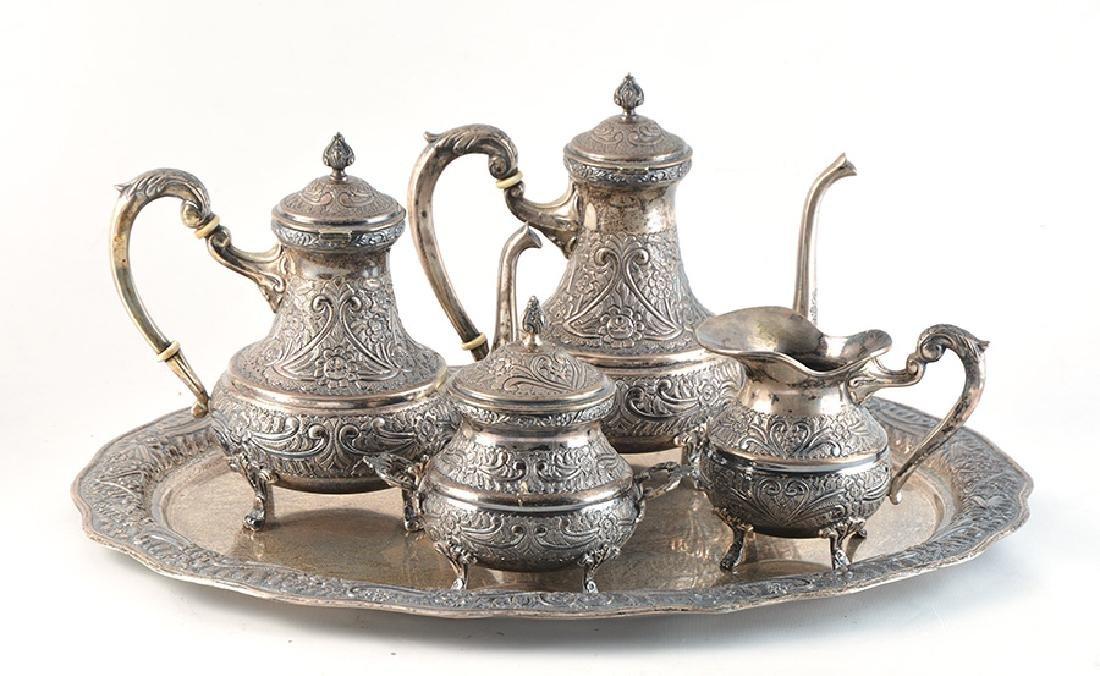 SILVER TEA SET - EGYPT, 20th c.