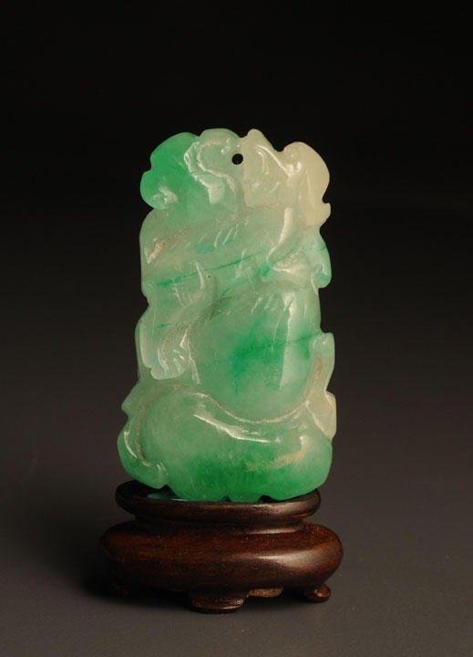 4: ANTIQUE APPLE GREEN JADE JADEITE PLAQUE CHINA Carved