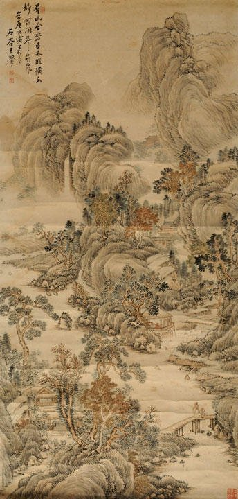 12: CHINESE SCHOOL Pavilions along the river Painting o