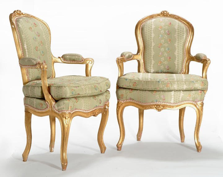 14: Pair of Louis XV small carved gilt wood armchairs