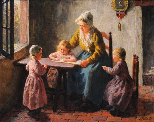 """17: POTHAST, Bernard (1882-1966) """"The Young Artist"""" Oil"""
