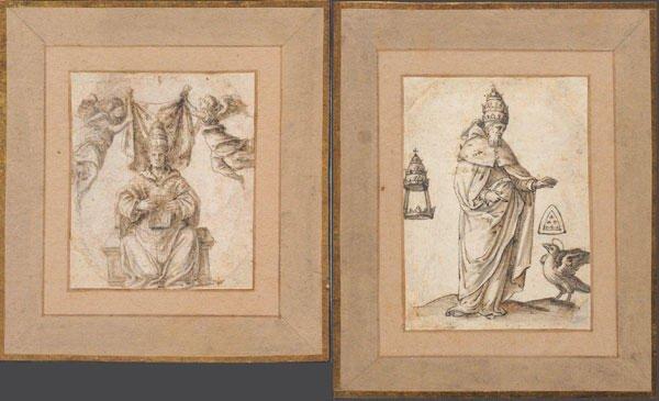 11: ITALIAN SCHOOL  Suite of two inks on paper represen