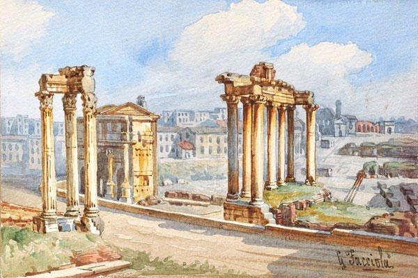 12: FACCIOLÀ, GAETANO (1868 - 1949)  Roman Forum  Water
