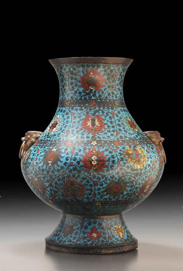 LATE MING DYNASTY CLOISONNE HU JAR - From a European