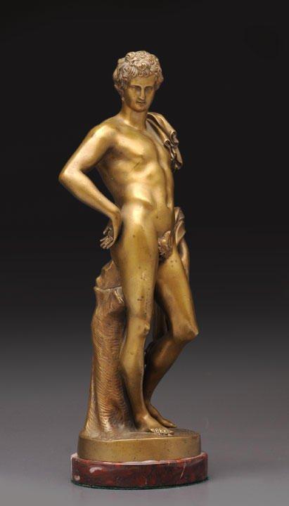 4: BARBEDIENNE, Ferdinand (1810-1892) Young Man Bronze
