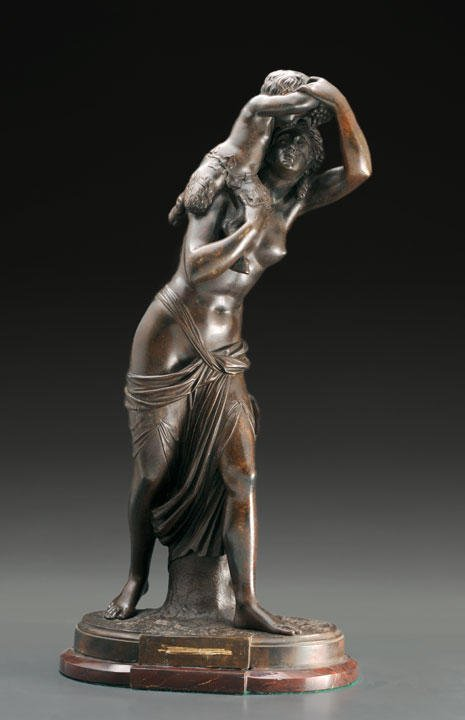 5: CLODION (1738-1814) Bacchante and satyr Bronze Signe