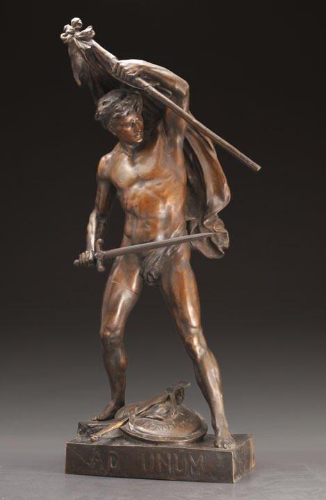 """9: PIGAULT, Émile (1839-1915) """"Ad Unum"""" bronze Signed a"""