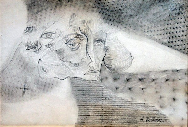 17: BELLMER, Hans (1902-1975) Faces Drawing Signed on