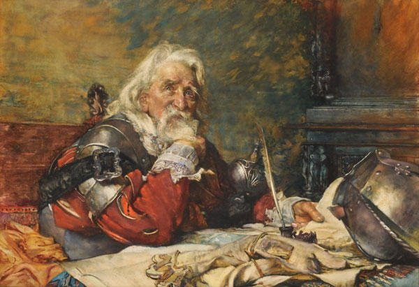 "18: BUNDY, Edgar (1862-1922) ""In Doubt"" Watercolor on p"