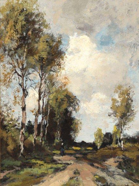 20: DE BOCK, Théophile (1851-1904) Landscape Oil on pa