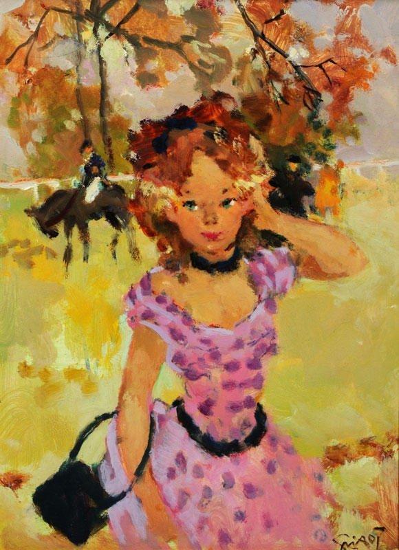 """23: GRISOT, Pierre (1911-1995) """"La robe à pois"""" Oil on"""