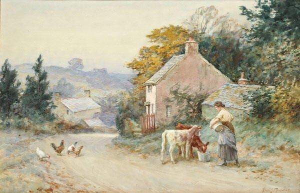 """24: KNOWLES, Fred (1874-?) """"Feeding Time, Haushaiade Vi"""