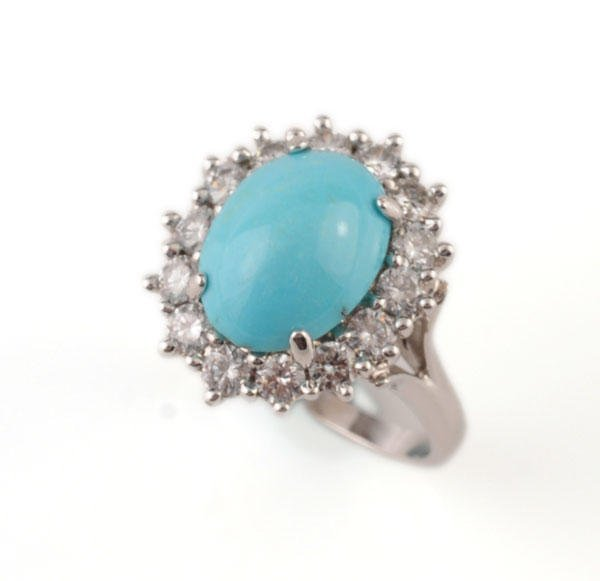 1015: 18K GOLD, DIAMONDS AND TURQUOISE