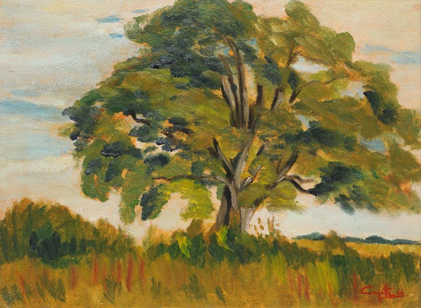 2: AYOTTE, Léo (1909-1976) Summer Tree Oil on panel Sig