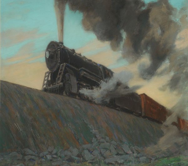 4: BARNES, Wilfred Molson RCA (1882-1955)  Steam Train