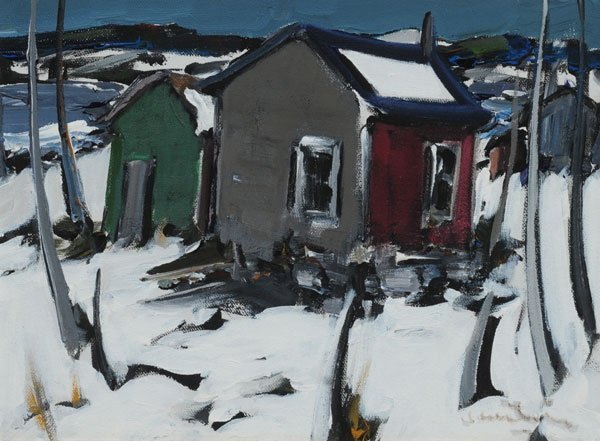 23: CANTIN, Roger (1930-) Shacks Oil on canvas Signed o