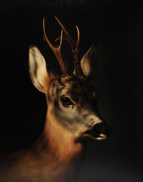 10: EUROPEAN SCHOOL Deer Oil on panel  51x39.5cm - 20x1