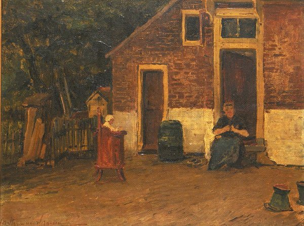 11: DUTCH SCHOOL 19th c. Woman and Child in a court hou