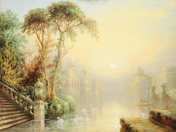 19: SALT, James (1850-1903) Canal with swans Oil on can