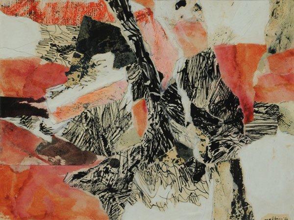 90: MALTAIS, Marcella (1933-) Orange Abstraction Collag