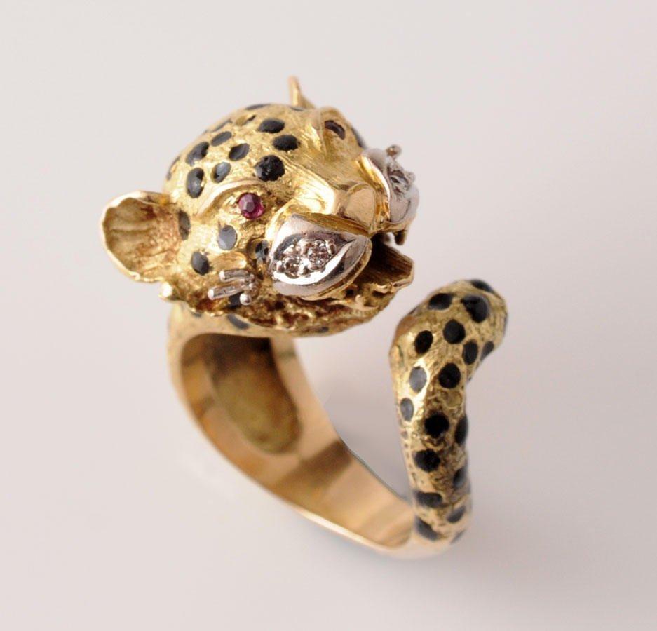 2008: FRASCAROLO 18K yellow gold lepard shapped ring, s