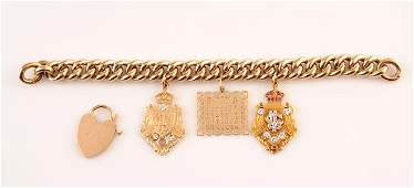 2035 9K yellow gold bracelet with two 14K yellow gold