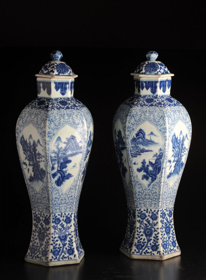 A PAIR OF SIX-ANGLE BALUSTER BLUE AND WHITE PORCELAIN L