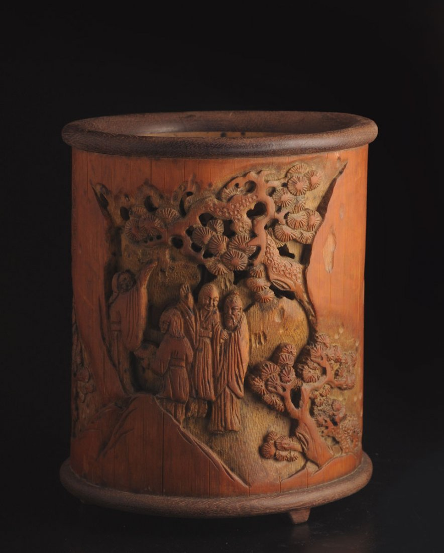 CARVED BAMBOO BRUSHPOT INSCRIBED WITH A CALLGRAPHY CHIN